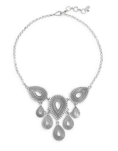 Lucky Brand Teardrop Statement Necklace-SILVER-One Size