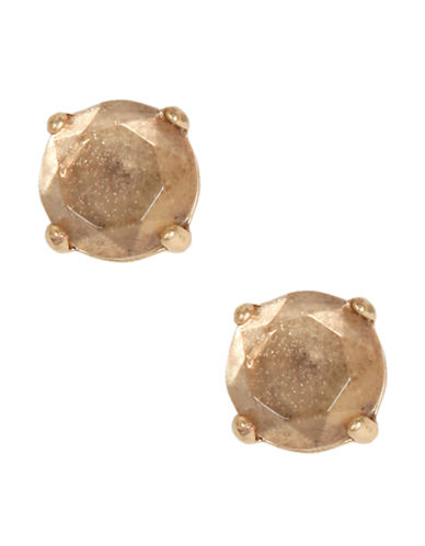 Lucky Brand Gold Tone Rock Crystal Stud Earrings-GOLD-One Size