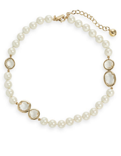 Kate Spade New York Faux Pearl and Crystal Necklace-CLEAR-One Size