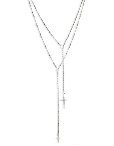 Lucky Brand Silver Tone Multi Strand Necklace-SILVER-One Size