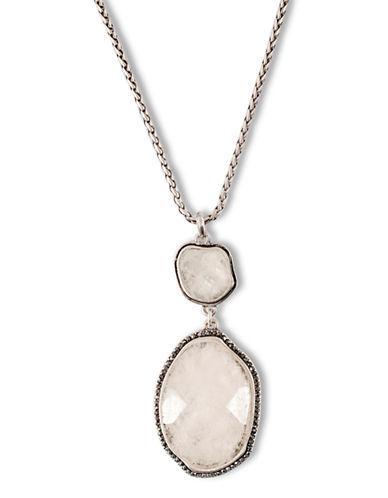 Lucky Brand Silver Tone Semi-Precious Stone Pendant Necklace-SILVER-One Size