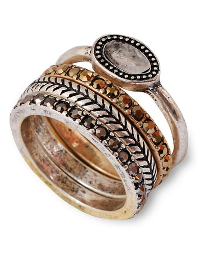 Lucky Brand Metal Semi-Precious Stone  Ring-TWO TONE COLOUR-7