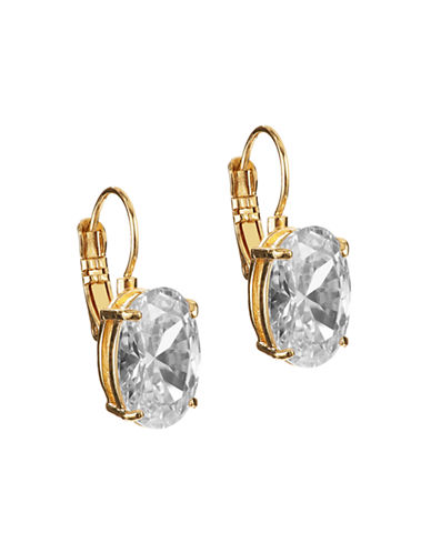 Kate Spade New York Draped Jewels Oval Leverback Earrings-CLEAR/GOLD-One Size