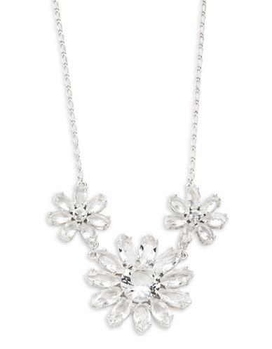 Kate Spade New York Crystal Gardens Small Floral Necklace-SILVER-One Size