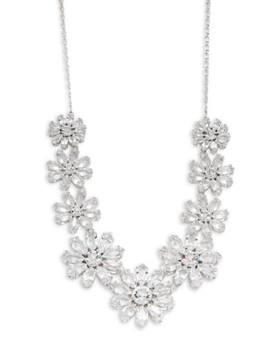 Kate Spade New York Crystal Gardens Graduated Floral Necklace-SILVER-One Size