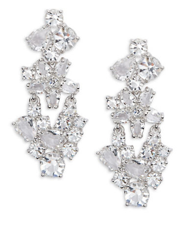 Kate Spade New York Clink of Ice Linear Floral Earrings-SILVER-One Size