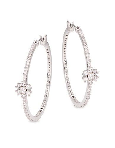 Kate Spade New York Pave Hoops - 1.25in-SILVER-One Size