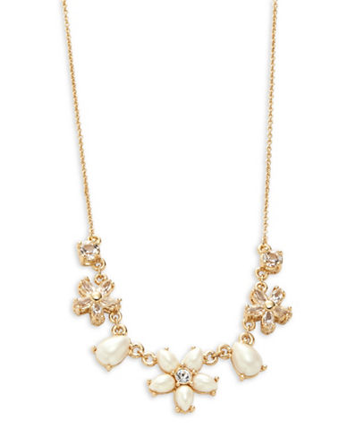 Kate Spade New York Mini Bouquet Faux Pearl and Crystal Necklace-GOLD-One Size
