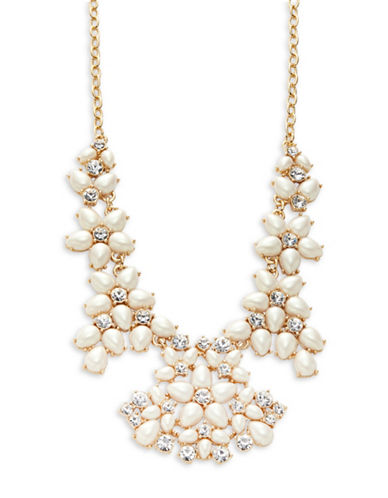 Kate Spade New York Faux-Pearl and Crystal Collar Necklace-CREAM-One Size