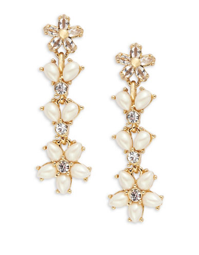 Kate Spade New York Mini Bouquet Floral Linear Drop Earrings-CREAM-One Size