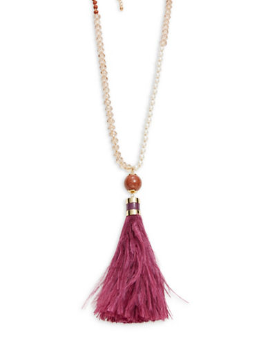 Kate Spade New York Faux Pearl and Feather Tassel Necklace-PURPLE-One Size