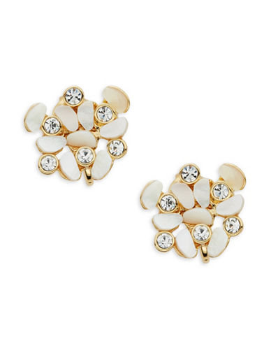 Kate Spade New York Disco Pansy Cluster Clip Earrings-WHITE-One Size