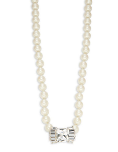 Kate Spade New York Faux Pearl Opera Length Necklace-SILVER-One Size