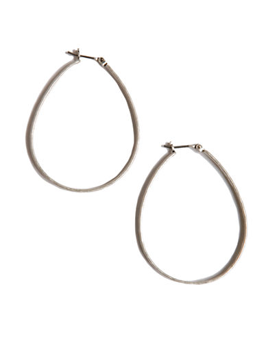 Lucky Brand Medium Oblong Hoop Earrings-SILVER-One Size