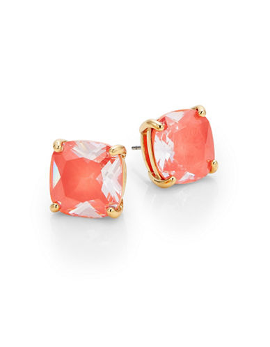 Kate Spade New York Enamel Small Square Stud Earrings-ORANGE-One Size