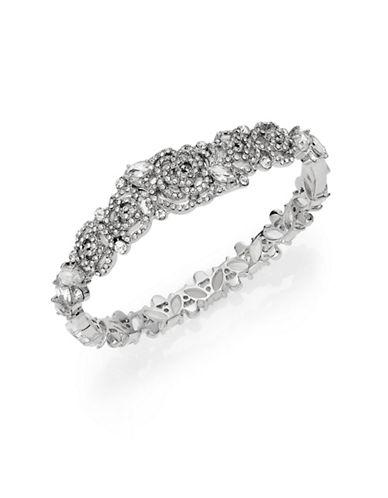 Kate Spade New York Crystal Rose Bangle Bracelet-SILVER-One Size