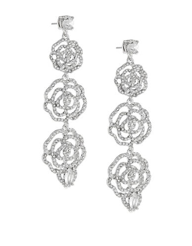 Kate Spade New York Crystal Rose Linear Earrings-SILVER-One Size