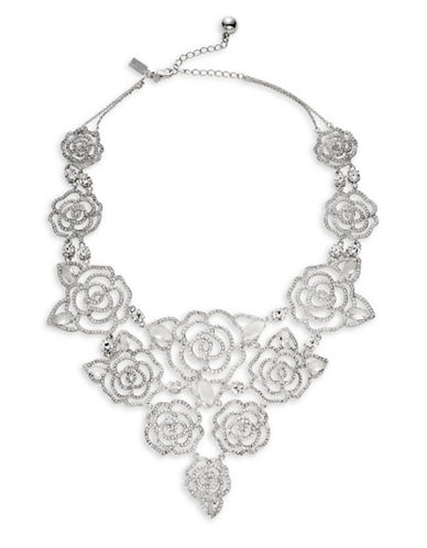 Kate Spade New York Crystal Rose Statement Necklace-SILVER-One Size