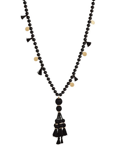 Kate Spade New York Pretty Poms Tassel Pendant Necklace-BLACK-One Size