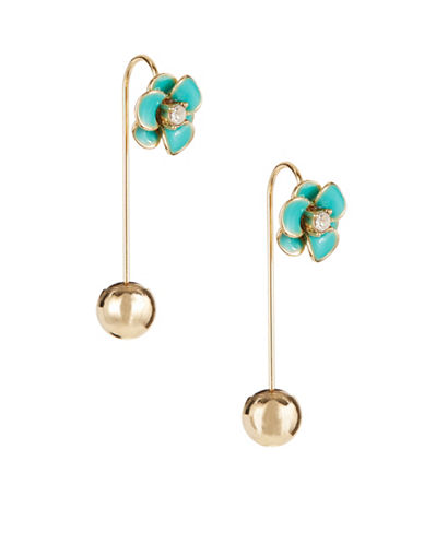 Kate Spade New York Shine On Flower Hanger Earrings-TURQUOISE-One Size