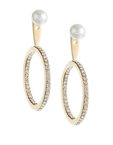 Kate Spade New York Shine On Faux Pearl Drop Hoop Jacket Earrings-CREAM-One Size