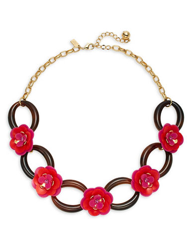 Kate Spade New York Rosy Posies Link Necklace-PINK-One Size