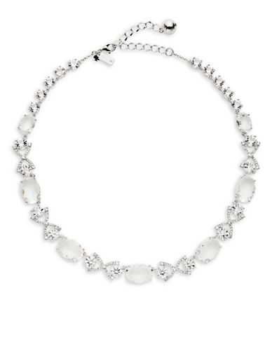 Kate Spade New York Crystal Cascade Bow-Link Necklace-SILVER-One Size