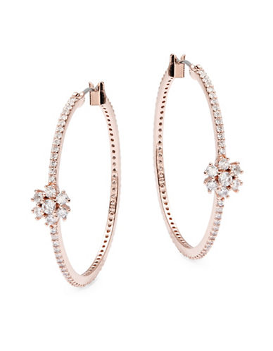Kate Spade New York Clink of Ice Pave Cluster Stone Medium Hoop Earrings-ROSE GOLD-One Size