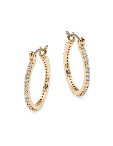 Kate Spade New York Clink of Ice Small Crystal Pave Hoops-GOLD-One Size
