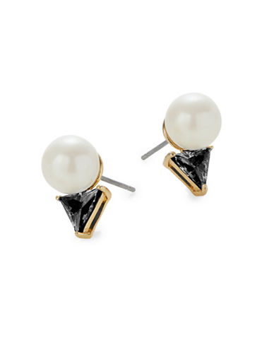 Kate Spade New York Bright Ideas Goldplated Triangle Bead Stud Earrings-BLACK-One Size