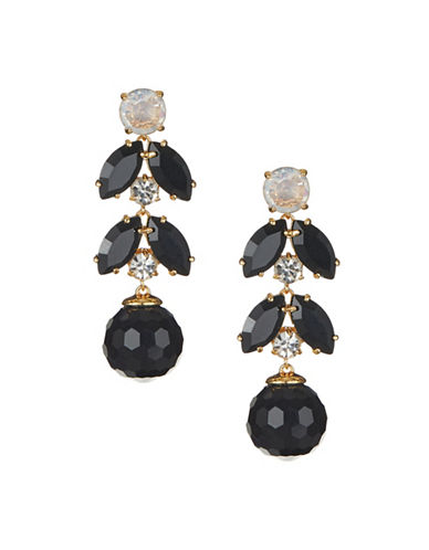 Kate Spade New York Crystal and Faux Pearl Be Bold Linear Drop Earrings-BLACK-One Size