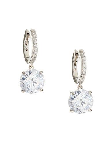 Kate Spade New York Silvertone Drop Hoop Earrings-SILVER-One Size