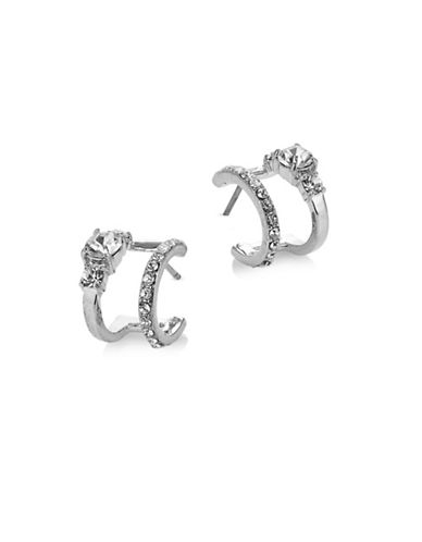 Kate Spade New York Pave Double Hoop Earrings-SILVER-One Size