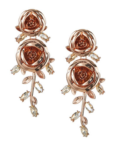 Kate Spade New York Long Crystal Floral Drop Earrings-ROSE GOLD-One Size