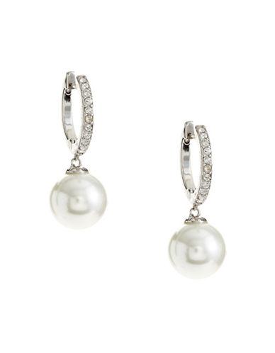 Kate Spade New York Faux Pearl Drop Hoop Earrings-PEARL-One Size