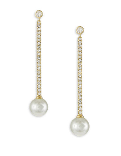 Kate Spade New York Precious Pearls Goldplated Linear Earrings-GOLD-One Size