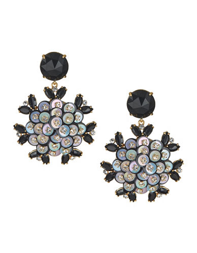 Kate Spade New York Crystal Floral Drop Earrings-BLACK-One Size