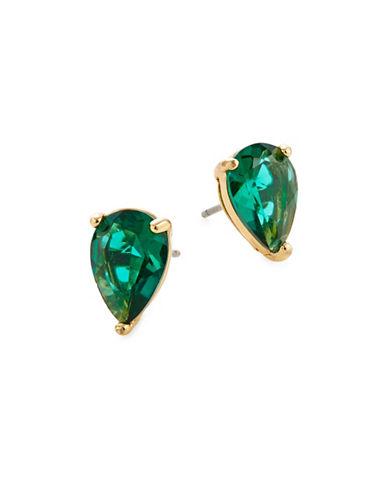 Kate Spade New York Crystal Tear Emerald-Tone Stud Earrings-GREEN-One Size