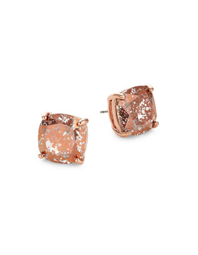 Kate Spade New York Crystal Mini Square Stud Earrings-ROSE GOLD-One Size