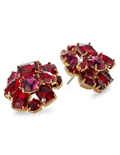 Kate Spade New York Crystal Cluster Stud Earrings-RED-One Size