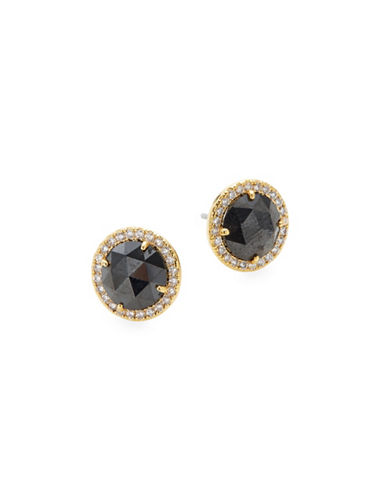 Kate Spade New York Pavé Crystal Halo Stud Earrings-BLACK-One Size
