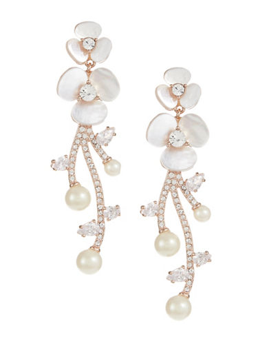 Kate Spade New York Pearl and Pavé Crystal Statement Earrings-WHITE-One Size