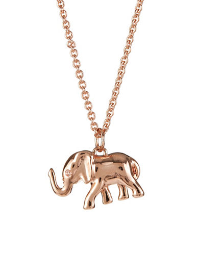 Kate Spade New York Crystal Elephant Mini Pendant Necklace-ROSE GOLD-One Size