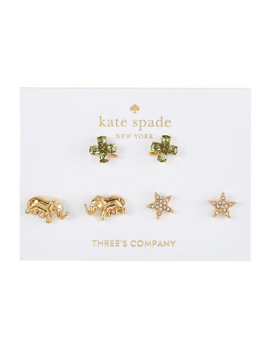 Kate Spade New York Set of Three Crystal Good Luck Stud Earrings-ASSORTED-One Size