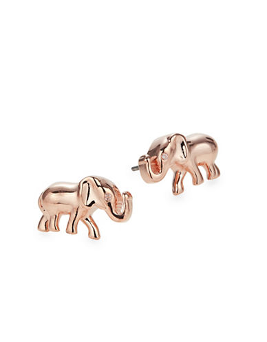 Kate Spade New York Crystal Elephant Stud Earrings-ROSE GOLD-One Size