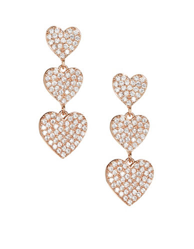 Kate Spade New York Yours Truly Pavé Crystal Triple Heart Drop Earrings-ROSE GOLD-One Size