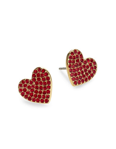 Kate Spade New York Yours Truly Pave Heart Stud Earrings-RED-One Size