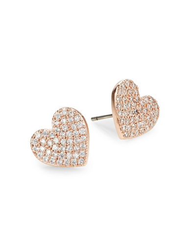 Kate Spade New York Yours Truly Pavé Crystal Heart Stud Earrings-ROSE GOLD-One Size