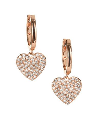 Kate Spade New York Yours Truly Rose Gold Pave Heart Drop Earrings-ROSE GOLD-One Size