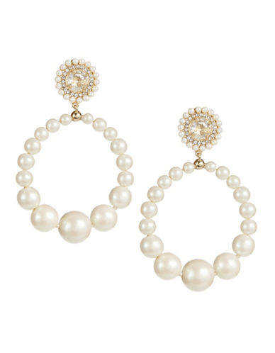 Kate Spade New York Pearl and Crystal Collar Necklace Hoop Earrings-WHITE-One Size